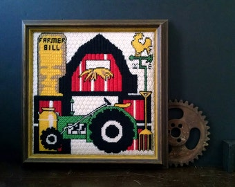 Vintage Framed Needlepoint Embroidery Red Barn Tractor Country Farmhouse Decor