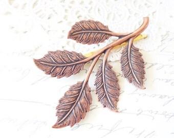Rosy Copper Leaf Branch Hair Pin - Copper Leaf Branch Bobby Pin - Woodland Leaf Hair Pin - Wedding Hair Pin - Bridal Leaf Branch Hair Pin