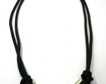 simple casual black paracord adjustable necklace