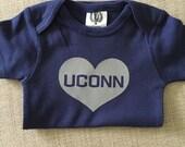 Baby UConn Heart Onesie - grey Heart - Baby Shower Gift - Connecticut - Huskies