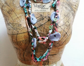 Textile Art Waterfall Style Flower Necklace