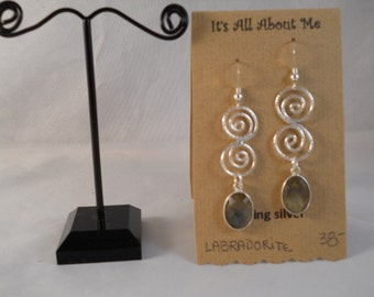 Sterling silver earrings, with Labradorite