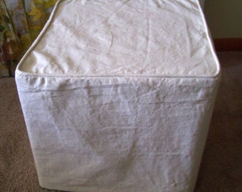 Ottoman Slipcover Linen Damask Boxed Pleat By Applecatdesigns