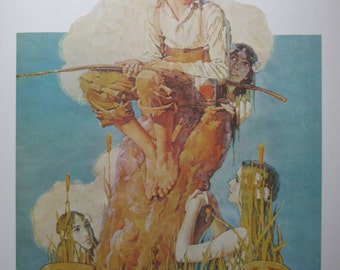 Summertime/Going Out, Norman Rockwell Magazine Cover Prints, 2-Sided Vintage Book Page, Unframed Color Plate, 1979