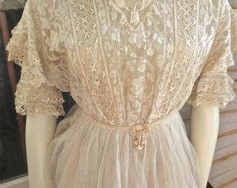 Antique 1915 Special Mixed Lace & Netting Titanic Era Edwardian Dress 32 Bust