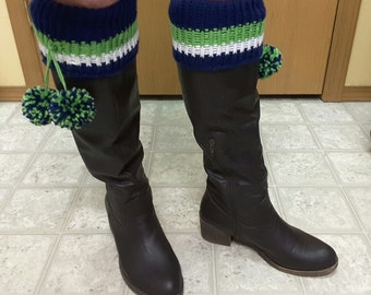 Seattle Seahawks Style Knit Leg warmer Boot Cuffs Leggings with Pom Poms Green Navy Blue & White