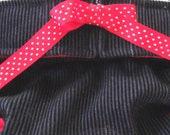 Dog Diapers Britches or Panties Medium Weight Stretch Navy Blue Rib Corduroy with Red Trim