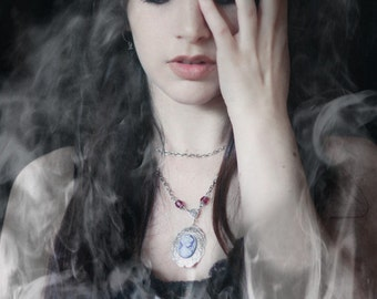 Neo Victorian Cameo Necklace - Dearly Departed - with Purple Czech Glass Bead Accents - By Ghostlove