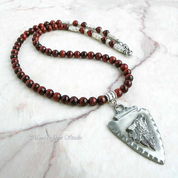 Mens Native American Beads: Red Tiger Eye Necklace For Men Wolf Pendant Tribal Native