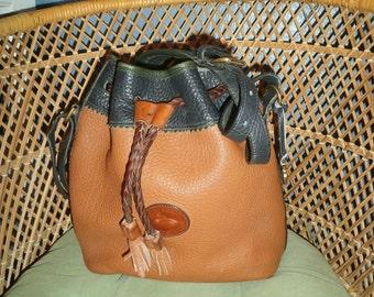 Dooney and Bourke Teton Bucket Bag Caramel/Blue/Green Tassel Drawstring