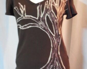 Tree hugger bleached refashioned shirt