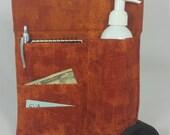 Massage Therapy Single lotion bottle RIGHT hip 3 side pocket holster, Rust patina print, black belt