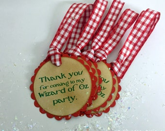 The Wizard of Oz Thank You Tags SET of 25/  Wizard of Oz Party Tags Customized/ Text, Ribbon, Color Personalized/ Favor Bag Tags To Tie