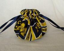 College Team Jewelry Bag - Medium Size - Fabric Jewelry Pouch - Drawstring Tote - MICHIGAN WOLVERINE