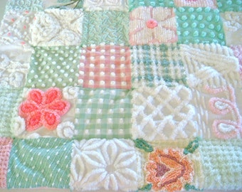 CROSS MY HEART ~ a Made-to-Order Vintage Cotton Chenille Patchwork Quilt