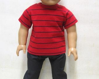 "Red Stripe Tee with Black Slacks for 18"" Boy Doll"