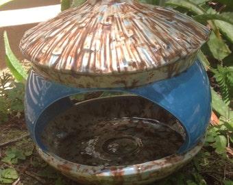ceramic, bird feeder, acorn, feeder, bright Blue, mocha fleck, garden