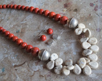 Long White Magnesite Teardrop Necklace with Funky Silver Accent Beads and Graduate Red Sponge Coral