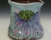 Coneflower utensil holder container vase handmade pot wheel thrown colorful floral fun functional