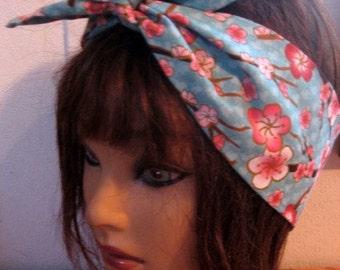 BandanaHeadband, Dolly Bow, Headband, Pinup Bandana, Tie On Headband, Cherry Blossoms, Tie up Hair Scarf, Hair Accessory, Women Fashion  #22