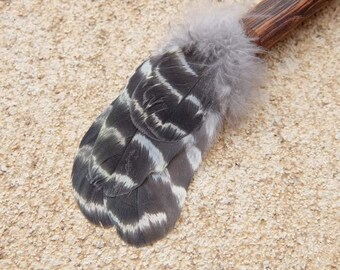 Smudging Fan & feather necklace - grey white feathers - cockatoo feathers and wood - magical tool