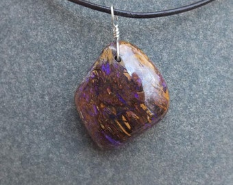 Boulder opal jewelry  - opalized wood - handmade in Australia by NaturesArtMelbourne - male jewelry