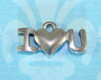 6 Love Charms I Love You I Heart U Pewter Silver USA Made (31184) Wedding Shower Favor Bulk Jewelry Supplies for Bracelet Necklace Pendant