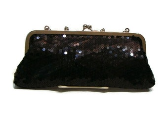 Vintage Black Sequin Clutch Silver and Black Clutch Bag Black Evening Clutch Bag Black Sequin Clutch Bag Black and Silver Clutch