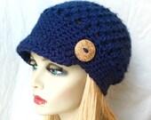 Dark Blue Navy Womens Hat, Crochet Beret, Teens, City, Birthdays Gifts for Her, JE610BT3