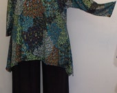 Plus Size Top, Coco and Juan, Lagenlook, Plus Size Tunic, Blue Peacock Print Knit Drape Side Tunic Top One Size Bust  to 60 inches