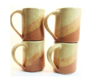 Set of 4  Ceramic Handmade Mugs , Nutmeg / Sahara combination