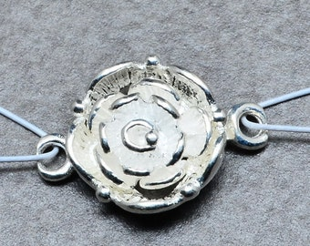 Sterling Silver  Rose Toggle  Clasp  -  Inter - Locking Toggle Clasp