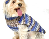 Dog Sweater with Knit Hat Blue Stripes Sizes XXS to Large