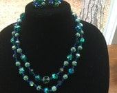 Vintage 2 Strand Autumn Green & Blue Glass Bead Necklace Earrings
