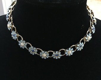 Vintage Blue Enamel & Rhinestone Floral Book Chain Link Necklace