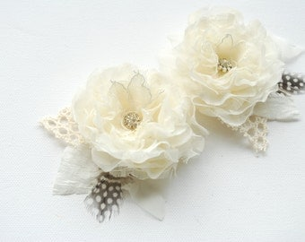 Ivory Bridal Hair Clips, Vintage Temend Weddings Hair Accessories, Ivory Bridal Headpiece, Bridal Ivory Flowers, Bridesmaids Ivory Hair Pin