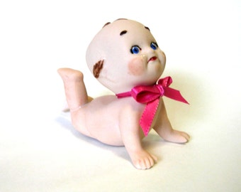 "Cupie/kewpie 4"" sad face with tears cast in porcelain  from a vintage mold"
