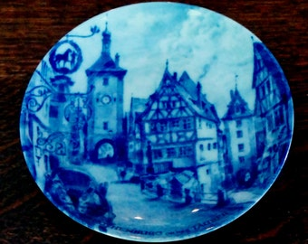 Vintage Souvenir Plate Rothenburg Cobalt Blue Collectible Bavarian Village Miniature