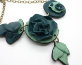 Handmade Polymer Clay Modern Flower and Leaf Necklace in Teal and Green