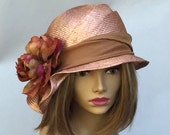 Sophia, beautiful parasisal straw hat, womens millinery hat in mocha straw color with silk band and silk flower