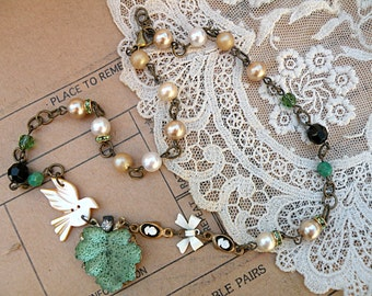 judy lee leaf necklace upcycle bird assemblage spring green