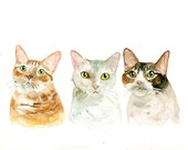 CUSTOM 3 PETS PORTRAIT Original watercolor painting 8X10inch