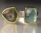 Watermelon Tourmaline Ring, Blue Tourmaline Ring, 18k Yellow Gold and Sterling Silver, Open Stone Cocktail Ring - size 7 - 7.25