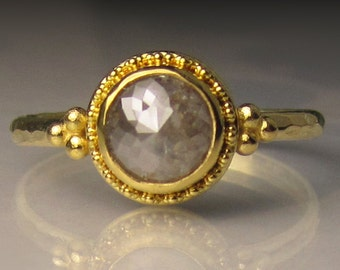 22k Gold Granulated Rose Cut Diamond Engagement Ring, 18k and 22k Yellow Gold Rose Cut Diamond Ring