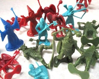 21 Vintage Plastic Figures, Knights Wizards Winged Devil Viking Warrior Toys, Supply Repurpose Altered Art Assemblage Diorama Red Green Blue