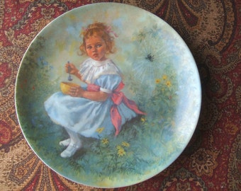 Little Miss Muffet Mother Goose Decorative Plate John McClelland , RECO 1981 Limited Edition, Nursery, New baby Shower Gift