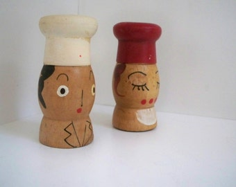 Vintage Small Wood Chef Salt and Pepper Shakers