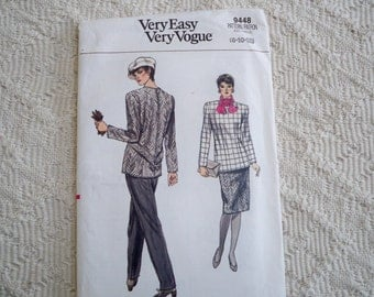 Vintage Sewing Pattern Very Easy Very Vogue Pattern # 9448 Misses' Top, Skirt and Pants Size  8 - 10 - 12