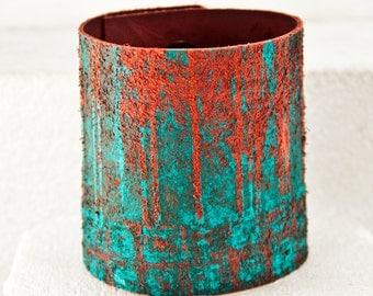 Turquoise Jewelry Teal Cuffs Bracelets - Summer Trends Handpainted Leather Wrist Cuff - Original Rainwheel Art