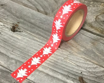 Washi Tape - 15mm - White Christmas Trees on Red - Deco Paper Tape No. 1052